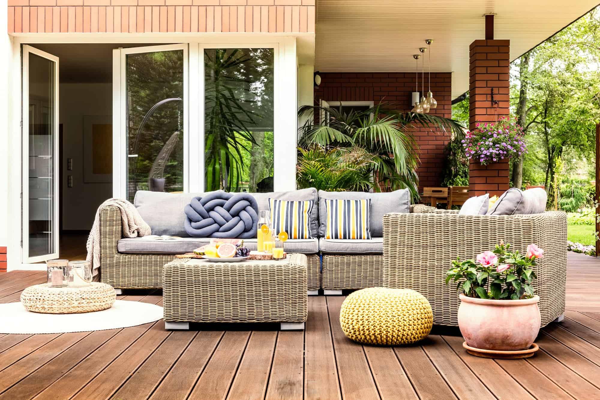 Beige garden furniture on terrace